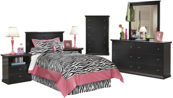 Lucia Black Youth Headboard Bedroom Set