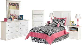 Lucia White Youth Headboard Bedroom Set