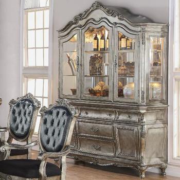 Rococo Antique Platinum Buffet & Hutch