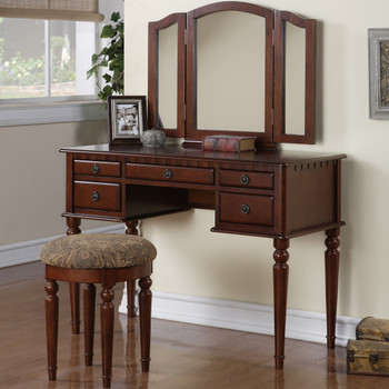 Belle Cherry Vanity with Stool