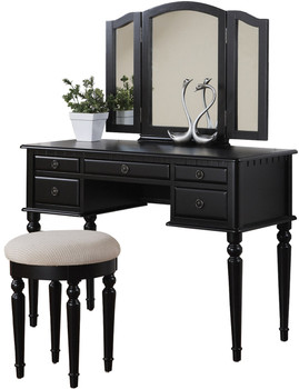 Belle Black Vanity with Stool