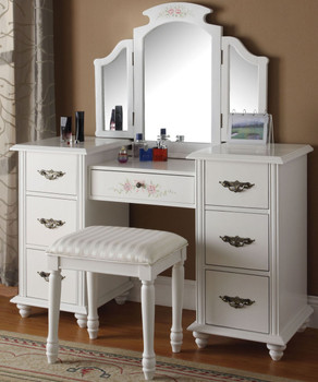 Lacy White Vanity with Stool