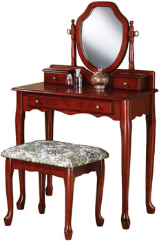 Vicky Cherry Vanity with Stool