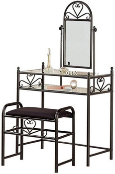 Briana Black Vanity with Stool