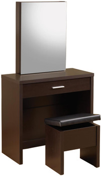 Demi Brown Hidden Storage Vanity with Stool
