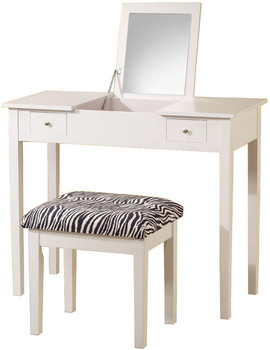 Zara White Flip-Top Vanity with Stool