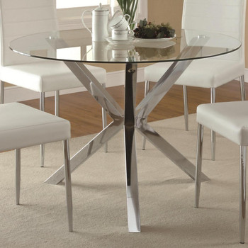 Leah 5-PC Dining Set White Leather Chairs