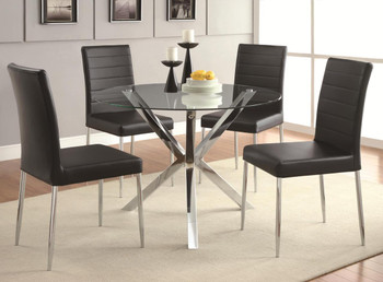 Leah 5-PC Dining Set Black Leather Chairs