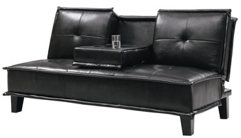 Donald Black Leather Built-In Cupholders Sofa Bed