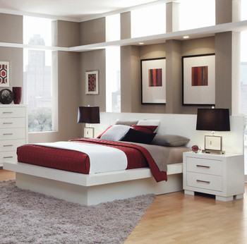Andre White Bed with Built-In Night Stands