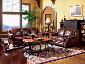 Wayne Burgandy 100% Leather Sofa And Loveseat