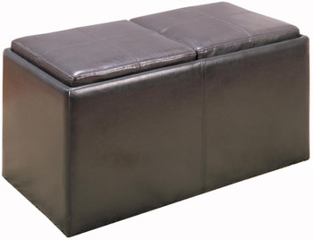 Brooke Dark Brown Leather Two-Seat Storage Ottoman