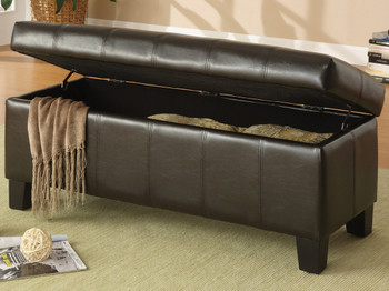 Bailey Dark Brown Storage Bench