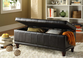 Gianna Dark Brown Storage Ottoman