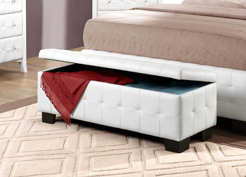 Lucy White Bi-Cast Vinyl Lift Top Storage Bench With Storage