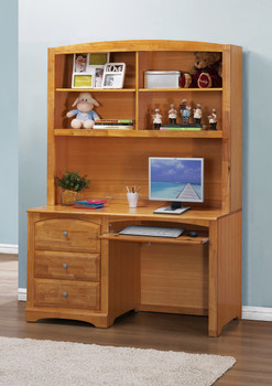 Elias Natural Finish Desk and Desk Hutch