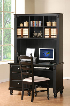 Miles Black Solid Wood Desk And Hutch