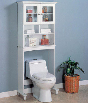 Uptin White Toilet Bathroom Rack with Cupboard