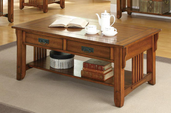 Jaime Oak 3-PC Occasional Set With Drawers and Storage Shelf