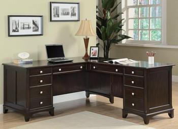 Lennon Cappuccino L-Shaped Desk