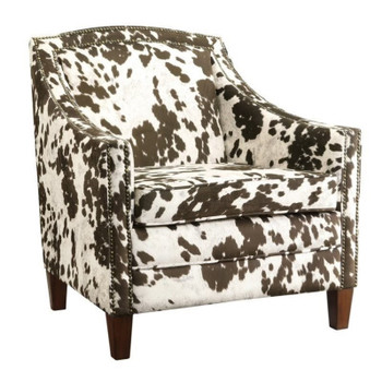 Adele Cow Pattern Accent Arm Chair with Nailheads