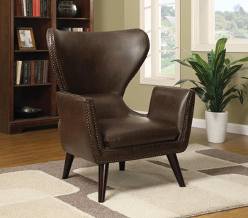 Nico Brown Leather Chair With Nailheads