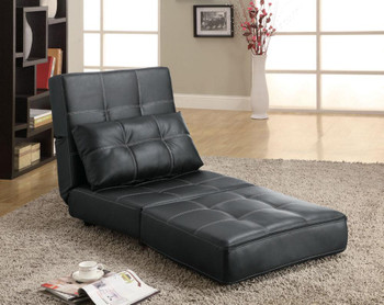 Franklin Black Leather Accent Chair/Bed/Lounger