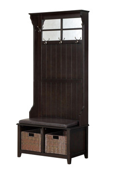 Williams Dark Walnut Hall Tree w/Storage Baskets & Five Hanging Hooks