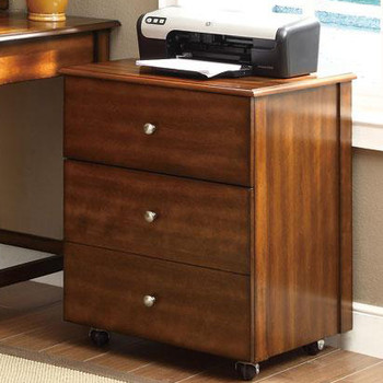 Harvey Walnut 3 Drawer Cabinet with Wheels