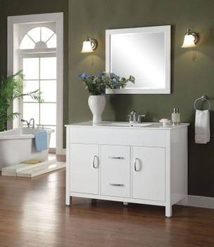 Kryptonite White Real Marble Top White Finish Sink
