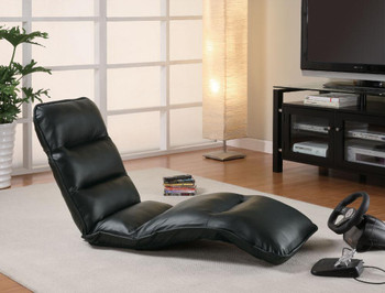 Jerrel Black Leather Lounge Chair Padded Seat