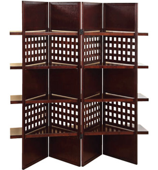Bronnson Dark Brown Wooden 4 Panel Room Divider With Shelves