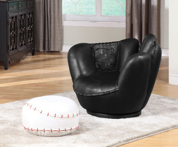 Branton Black Leather Baseball Glove With Ottoman