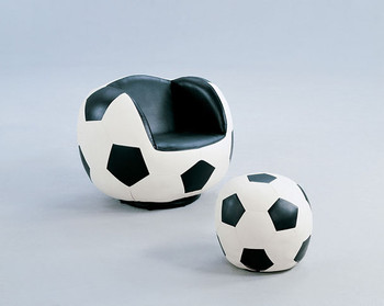 Franklin Leather Swivel Soccer Chair With Ottoman
