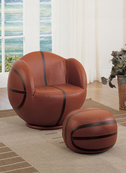 Brik Leather Swivel Basketball With Ottoman