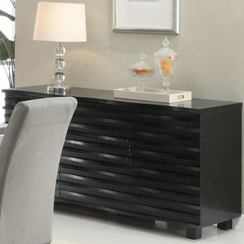 Darnell Black Server with Cabinet Storage