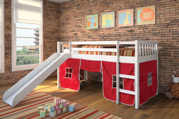 Anyssa White Loft Bed With Slide/Red Tent- 13 Slats