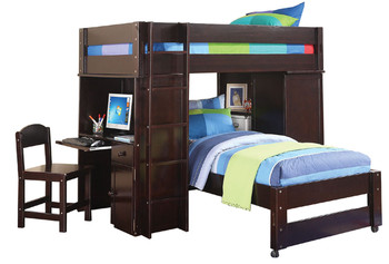 Bambi Espresso Twin Loft Bed W/Twin Bed/Chair
