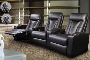 Kenley Black Leather 3 Seater Theater Seats With Built In Cup Holders