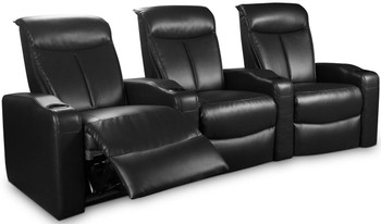 Jayson Black Leather Theater Seats Power Motion 3-PC Set