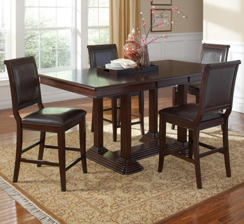 Angelo Brown Cherry 5 Piece Counter Height Set