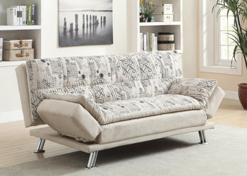 Scripted White Printed Sofa Bed