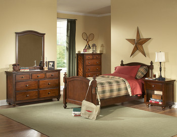 Billie Warm Brown Cherry 6-Pc Bedroom Set
