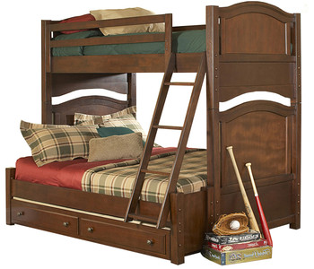 Billie Warm Brown Cherry T/F Bunkbed With Underneath Trundle