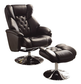 Basel Black Leather Swivel Reclining Chair W/Ottoman