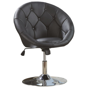 Bowl Black Leather Swivel Chair