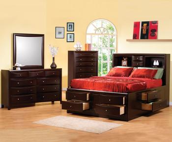 Fey Cappuccino Storage Bedroom Set