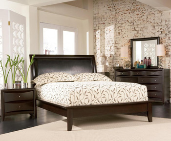 Fey Cappuccino Upholstered 6-PC Bedroom Set