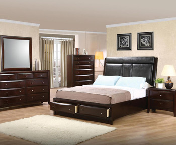 Fey Cappuccino Platform Bed with Console 6-PC Bedroom Set