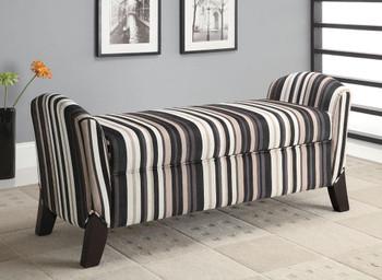 Cordell Black/Brown Stripes Storage Bench